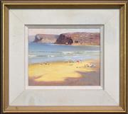 Sale 8294 - Lot 506 - Ken Knight (1956 - ) - Afternoon on the Beach 21 x 26cm