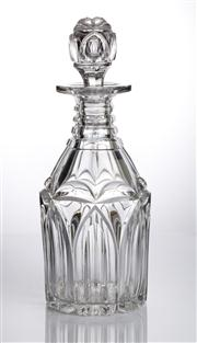 Sale 8528A - Lot 5 - A Georgian style heavy cut crystal triple ringed neck decanter, with fluted body and original stopper, total H 28cm