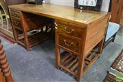 Sale 8550 - Lot 1222 - Oriental Style Twin Pedestal Desk with Four Drawers