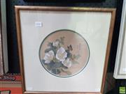 Sale 8573 - Lot 2041 - Artist Unknown - Chinese Flowers and Butterfly 42 x 41cm