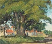 Sale 8781 - Lot 524 - Leonard Long (1911 - 2013) - Country Homestead, 1949 39 x 59.5cm