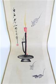 Sale 8902C - Lot 694 - Scroll painting of rats on a candle stick with calligraphy and red seal