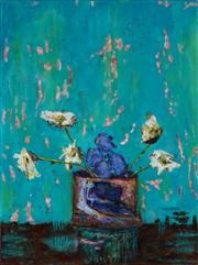 Sale 8966A - Lot 5062 - Stanley Perl (1942 - ) - Flowers With Aqua Background 61 x 46 cm (total: 61 x 46 x 2 cm)