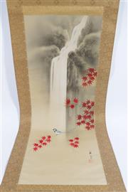 Sale 9003 - Lot 14 - Maple Leaf And Waterfall Themed Japanese Scroll