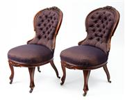 Sale 9044J - Lot 13 - A pair (2) of antique English mahogany drawing room chairs C: 1870. The floral and leaf carved crests on a waisted back traditionall...