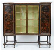 Sale 9080J - Lot 15 - An antique English Japoinesque laquered cabinet in original un-restored condition C: 1890. The 2 end panelled doors painted in raise...