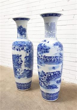 Sale 9112 - Lot 1013 - Large pair of blue & white Chinese urn depicting village scenes (h:135 x d:37cm)
