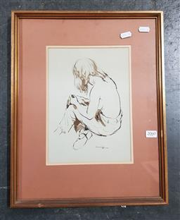 Sale 9155 - Lot 2060 - Artist Unknown, seated woman, ink wash on paper, 43 x 34 cm -
