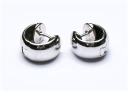 Sale 9164 - Lot 242 - A pair of Modernist sterling silver clip earrings