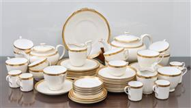 Sale 9195H - Lot 45 - Minton's cream and gold tea and coffee cups, saucers and a sugar bowl, damaged, with matching Royal Doulton dishes