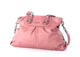 Sale 9221 - Lot 346 - A COACH PINK LEATHER ASHLEY BAG; with silver tone Coach and hardware with tag and detachable shoulder strap, open top to pink sate...