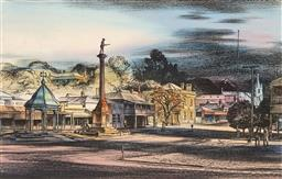 Sale 9216A - Lot 5064 - KENNETH JACK (1924 - 2006) ANZAC Statue, Country Town handcoloured lithograph, ed. 36/50 36 x 57.5 cm (frame: 60 x 79 x 3 cm) signed...