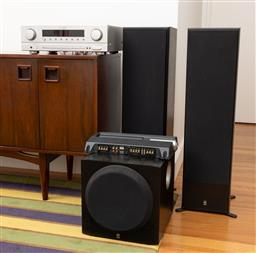 Sale 9239H - Lot 4 - A Sherwood audio/video receiver RD6513, together with a pair of Yamaha speakers Model No. NS-50F, and a Yamaha sub woofer Model No....
