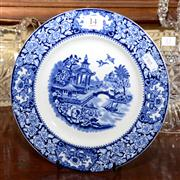 Sale 7997 - Lot 14 - AN ENGLISH WILLOW PATTERN BLUE AND WHITE CABINET PLATE