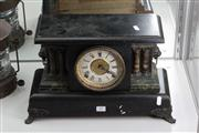 Sale 8024 - Lot 15 - Sessesion Timber Mantel Clock in Faux Black Slate and Marble