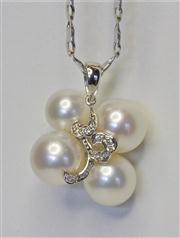 Sale 8036A - Lot 359 - A PEARL AND DIAMOND PENDANT NECKLACE; set with a cluster of 4 fine quality cultured pearls centring 13 round brilliant cut diamonds...