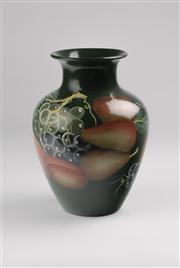 Sale 8350L - Lot 26 - A pair of Italian hand painted vases with fruit motif, H 23cm, RRP $ 150
