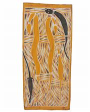 Sale 8389 - Lot 580 - Wandjuk Marika (1927 - 1987) - Snakes and Lizard, 1965 52 x 23cm
