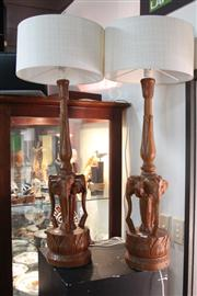 Sale 8379 - Lot 147 - Timber Carved Pair Of Elephant Form Lamps