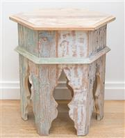 Sale 8471H - Lot 11 - A Moroccan style distressed finished hexagonal occasional table in mute tones, H 58 x D 48cm