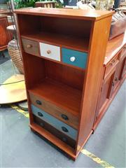 Sale 8672 - Lot 1041 - Timber Wall Unit with Six Drawers
