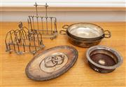 Sale 8741A - Lot 95 - A small quantity of Ep ware including two toast racks, a bottle coaster, two serving dishes and an oval tray