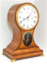 Sale 8863H - Lot 11 - A Regency mantle clock by John Barwise, London. the inlaid maple case with an oval gilt framed panel depicting a classical scene, wr...