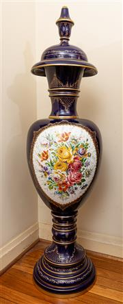 Sale 8882H - Lot 23 - An oversized continental covered floor vase, made in sections with a cobalt ground, floral bouquet reserved and gilt highlights, He...