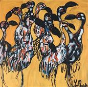 Sale 8918A - Lot 5007 - Yosi Messiah (1964 - ) - Golden Flamingo 85 x 85 cm