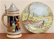 Sale 9071H - Lot 52 - A Royal Doulton Cabinet plate, The Pheasant together with a stein from Munich