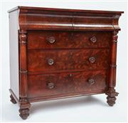 Sale 9080J - Lot 16 - An antique English figured mahogany 5 drawer chest of exceptional quality C: 1830. The 2 half drawers above 3 full width drawers eac...