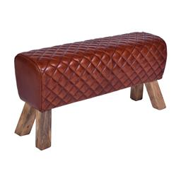 Sale 9140F - Lot 162 - A vintage high veg leather double stool with fruitwood legs. Dimensions: W89 x D46 x H35 cm