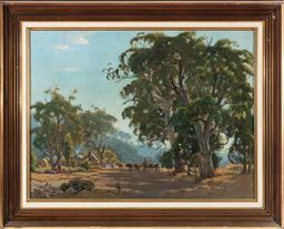 Sale 9190H - Lot 271 - Robert Edgar Taylor Ghee, Farmer with Cattle at Farmhouse,Oil on board, 44x59cm Signed lower centre.