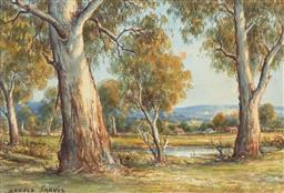 Sale 9216A - Lot 5069 - ARNOLD JARVIS (1881 - 1959) Avon Valley, W.A watercolour 19 x 27.5 cm (frame: 41 x 48 x 3 cm) signed lower left