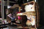 Sale 8169 - Lot 2301 - Basket of Dolls & Box of Toys