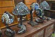 Sale 8262 - Lot 1065 - Collection of Leadlight Shade Table Lamps