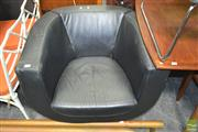 Sale 8275 - Lot 1014 - Modernist Black Leather Swivel Chair