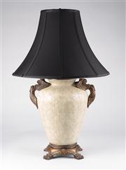 Sale 8350L - Lot 27 - A pair of cream Italian crackle finish baluster lamps with twin handles on base and black shades, total H 73cm, RRP $ 1480