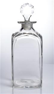 Sale 8528A - Lot 39 - A Georgian square glass decanter, with cut bulls eye original stopper, total H 25cm