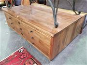 Sale 8648 - Lot 1065 - Rustic Timber Plan Drawer Style Coffee Table with Four Drawers on Castors