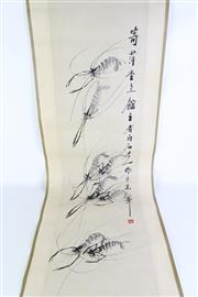 Sale 8902C - Lot 606 - Scroll of prawns with calligraphy