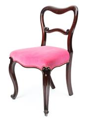 Sale 9044J - Lot 25 - A set of 12 antique English mahogany kidney back chairs C: 1875. The waisted back joined to a scrolling bar above pink velvet uphols...