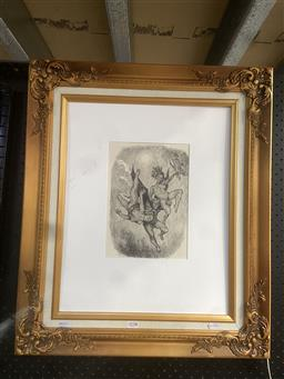 Sale 9094 - Lot 2034 - Norman Lindsay Untitled (Dark Angel and Women) monophotolithograph  67 x 57cm (frame), facsimile signed