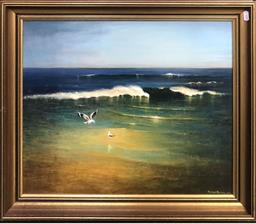 Sale 9103 - Lot 2032 - Percy Blake Nine Mile Beach, Tuncurry 1980 acrylic on board 57 x 67cm, signed and dated