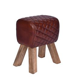 Sale 9140F - Lot 163 - A vintage high veg leather rectangle stool with fruitwood legs. Dimensions: W41 x D30 x H51 cm