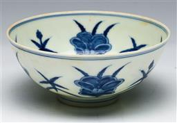 Sale 9144 - Lot 138 - A Lotus themed fine porcelain blue and white Chinese bowl (dia 12.5cm)