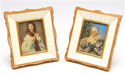 Sale 9255S - Lot 89 - A Pair Victorian Miniature Portraits Indistinctly Signed mid right 7cm x 9cm