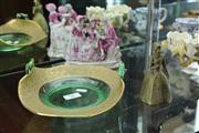 Sale 8081 - Lot 32 - Continental Figural Group, Green & Gilt Glass Dish & Brass Lady