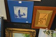 Sale 8250C - Lot 2053 - Michael Retter - Gum Leaves, marquetry, and Sailing Boat, blue and white painted tile, framed, various sizes
