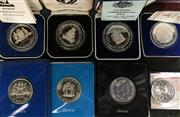 Sale 8465J - Lot 322 - EIGHT $10 SILVER COINS; 6 State Series 1985-87, & 2 x XII Commonwealth Games Brisbane, all have both boxed proof and uncirculated in...